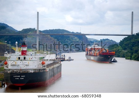 PANAMA - OCTOBER 6. In July 2009 the Panama Canal Authority awarded contracts to a consortium of companies to build six new locks by 2015. Existing canal seen in October 2010. October 6 2010, Panama