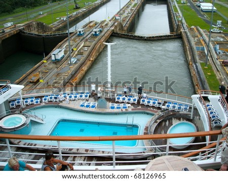 PANAMA - OCTOBER 6. In July 2009, the Panama Canal Authority awarded contracts to a consortium of companies to build six new locks by 2015. The narrow canal seen from a ship. October 6, 2010, Panama