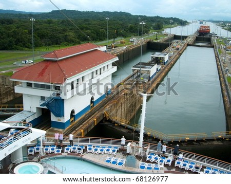 PANAMA - OCTOBER 6. In July 2009, the Panama Canal Authority awarded contracts to a consortium of companies to build six new locks by 2015. Existing canal seen from a ship. October 6, 2010, Panama