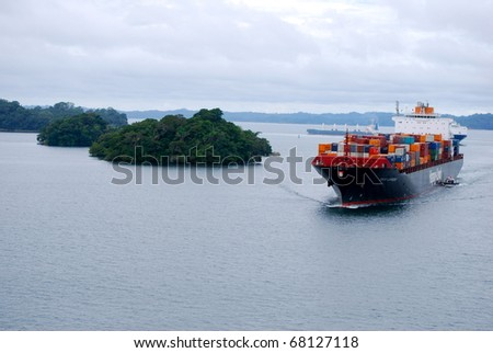 PANAMA - OCTOBER 6. In July 2009 the Panama Canal Authority awarded contracts to a consortium of companies to build 6 new locks by 2015. Ships in the Gatun Lake between locks. October 6 2010, Panama