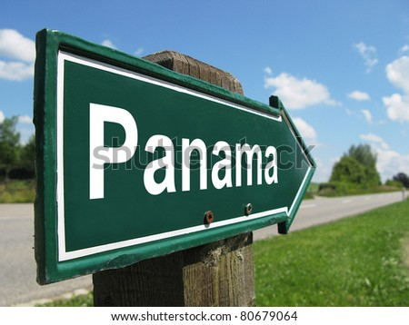PANAMA signpost along a rural road