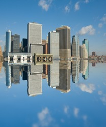 panaorama of manhattan with flying helicopter, new york, usa