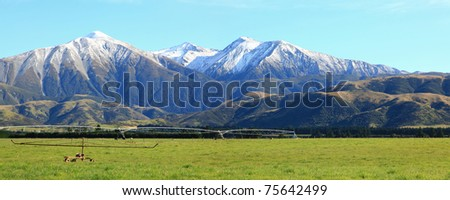 panarama of great southern alpine alps in New Zealand