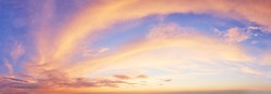 panaromic sunset sky with multicolor clouds. Dramatic twilight sky background