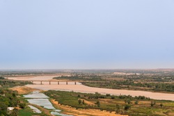 Panaromic View of Niger river at sunset in Niamey in Niger in Africa