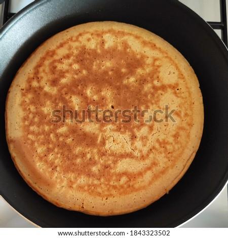 Pancake closeup in a pan for breakfast Stok fotoğraf ©