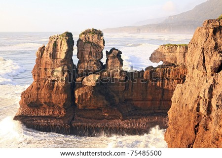 Pancake rock, Grand canyon of New Zealand, located in west coast  in the evening