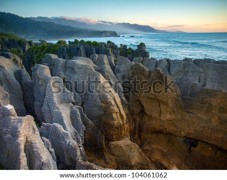 Pancake Rocks at Punakaiki seen from the lookout, West Coast, South Island, New Zealand