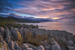 Pancake rocks in Punakaiki, South island, New Zealand (Motion blur)