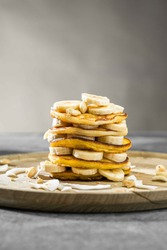 Pancake Stack on a sunday Morning with syrup. Foodphotography