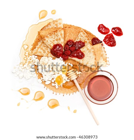Pancake with different stuffing: honey, jam and cottage cheese on white background - stock photo