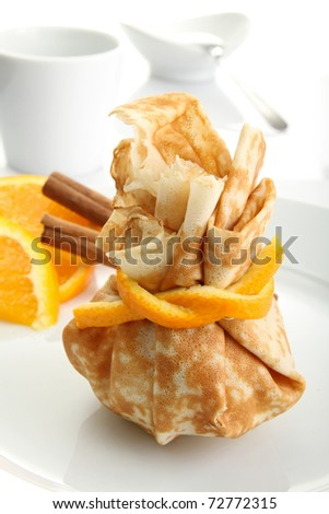 pancake with orange and chocolate