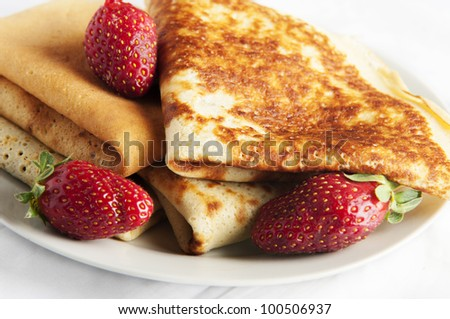 pancake with strawberry and chocolate