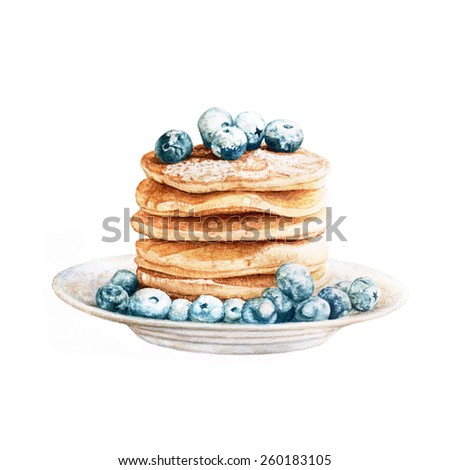 Pancakes and blueberries in powdery sugar situated on the plate. Watercolor illustration.