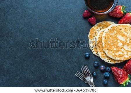 Pancakes border background, overhead