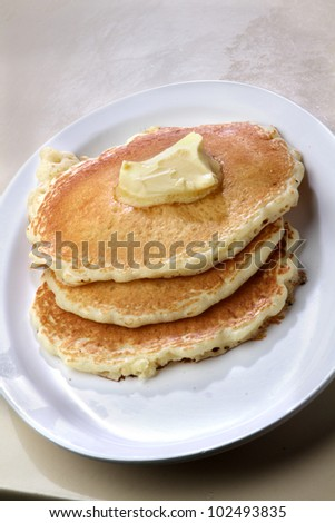 Pancakes /  Butter milk pancakes on a plate