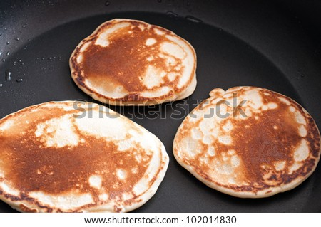 Pancakes cooked on a skillet