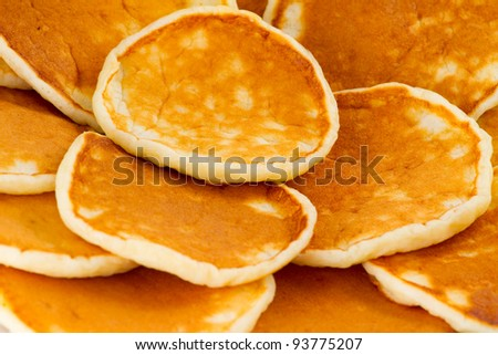 Pancakes on a plate closeup
