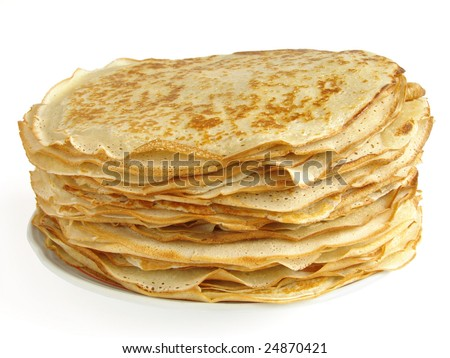 pancakes pile against white background