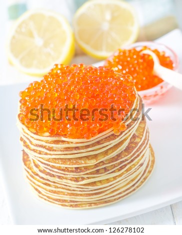 pancakes with caviar - stock photo