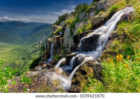Pancava waterfall, Giant Mountains (czech: Krkonose, pol: Karkonosze), mountain range on Czech-Polish border, part of Sudetes mountain system, central Europe.