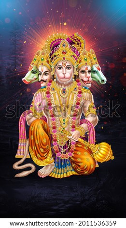 Panchmukhi lord Hanuman Indian God sunrise background wallpaper