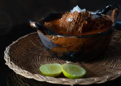 Pancita de res (beef stew) with lemon, Mexican food cuisine
