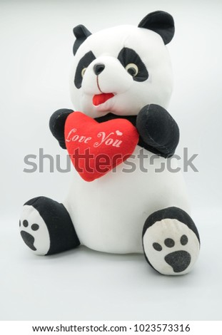 "Panda doll and red heart ""love you""  isolated on white background . #1023573316"