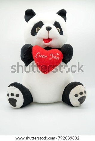 "Panda doll and red heart ""love you""  isolated on white background . #792039802"