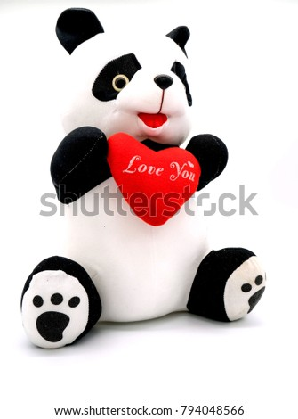 "Panda doll and red heart ""love you""  isolated on white background . #794048566"