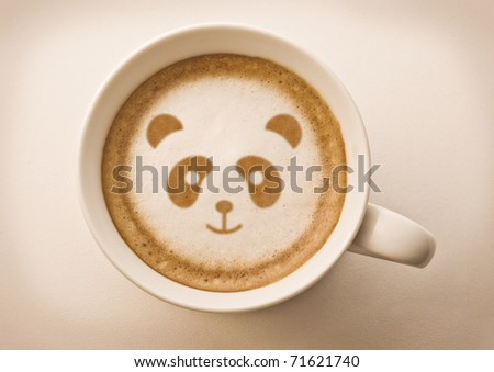 panda face on latte art drawing coffee cup #71621740