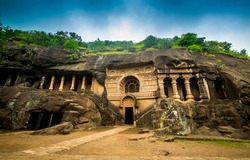 Pandav Leni, The Buddha Caves at Nashik, Maharashtra, India. Ancient caves dating second century A.D. This group of 24 caves located near Nashik. These caves were carved during the reign of Satavahana