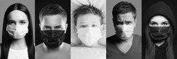 Pandemic Collage. People in Masks. Girl, Man and Child in medicine Masks. Coronavirus epidemic. Black and white