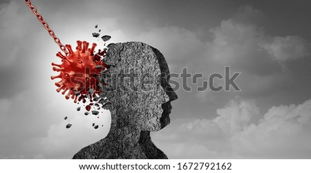 Pandemic psychology and fear of contagion or psychological fears of disease or virus infections with 3D illustration elements.
