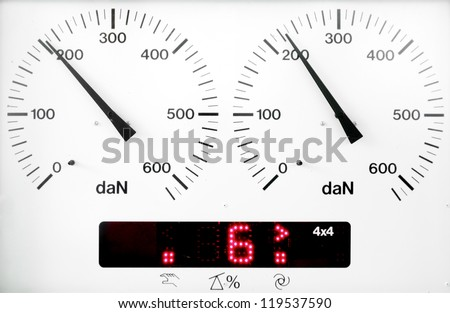 panel control meter of car braking test (working status)