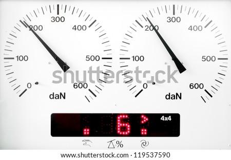 panel control meter of car braking test (working status)