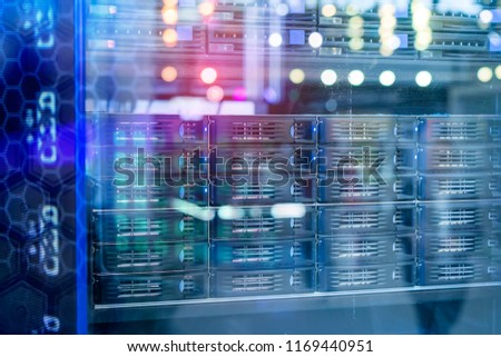 Stock Photo Panel modern servers in the data center vertical