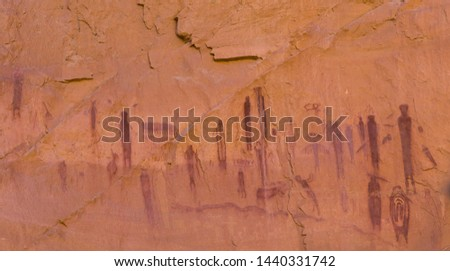 Panel of pictographs from the Horseshoe Canyon Unit of Canyonlands National Park. The panel of pictographs date from 4,000 - 1,000 years ago.