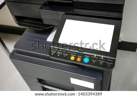 panel of printer, printer scanner laser office copy machine supplies start concept.