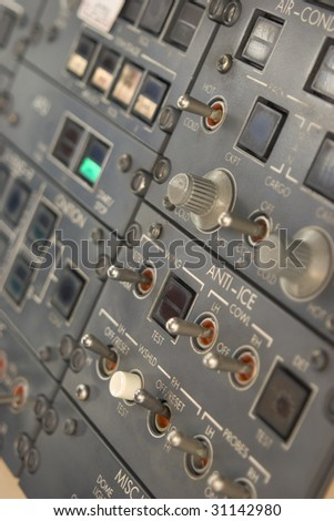 Panel of switches on an aircraft flight deck