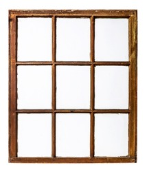 panel of vintage, grunge, sash window with dirty glass (9 panes), isolated on white
