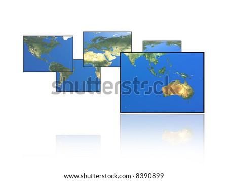 Paneled world map. Australia.