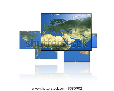 Paneled world map. Europe.