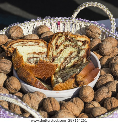 panettone slices in a basket of nuts