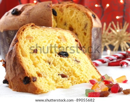 Panettone traditional Christmas sweet - stock photo