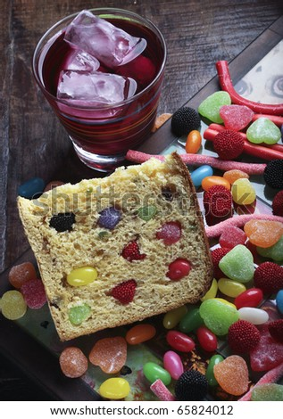 Panettone with candy and soda