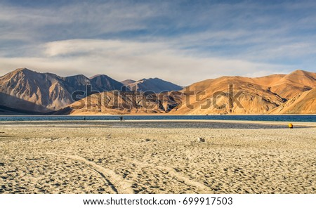 Pangong lake, once of height lake in the Leh Ladakh - Shutterstock ID 699917503