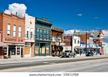 "PANGUITCH, UT - MAY 7: Morning day at authentic street in style wild west on 7 may, 2007 Panguitch, UT. First settled by Mormon Pioneers in 1864 Panguitch is a Paiute Indian word, meaning ""Big Fish."""