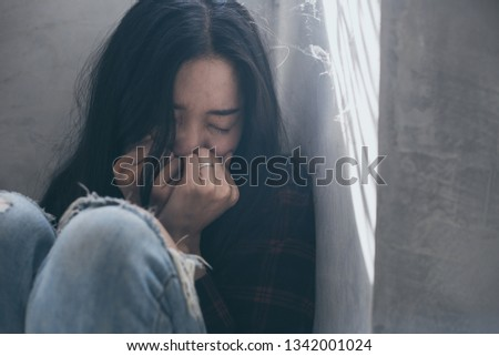 panic attacks young girl sad fear stressful depressed emotional.crying use hands cover face begging help.stop abusing domestic violence in women,person with health anxiety,people bad feeling down  #1342001024