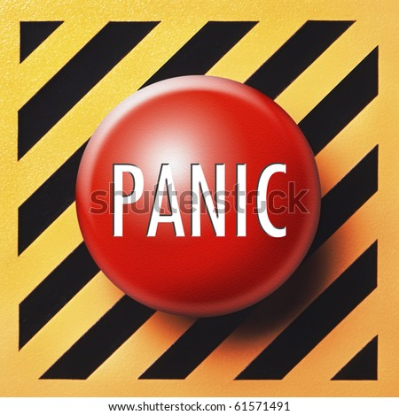 Panic button in red on yellow and black panel